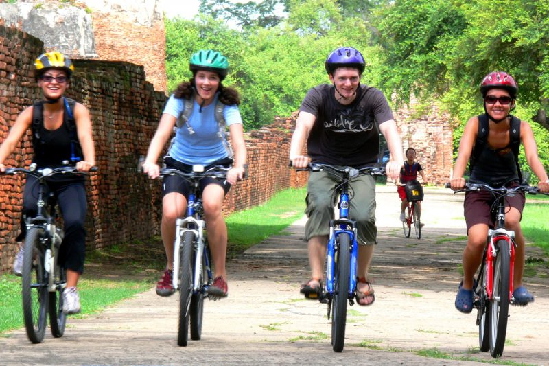 Friends Cycling in Ayutthaya