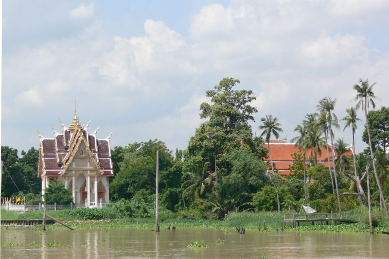 View of the river banks on the Chao Phraya River